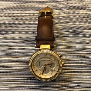 Gold Leather Michael Kors Watch